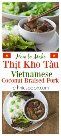 Tender and delicious morsels of pork braised in coconut sauce. You will love Thit Kho Tau a traditional Vietnamese dish that is a popular for the Tet holiday and so easy to make!   ethnicspoon.com