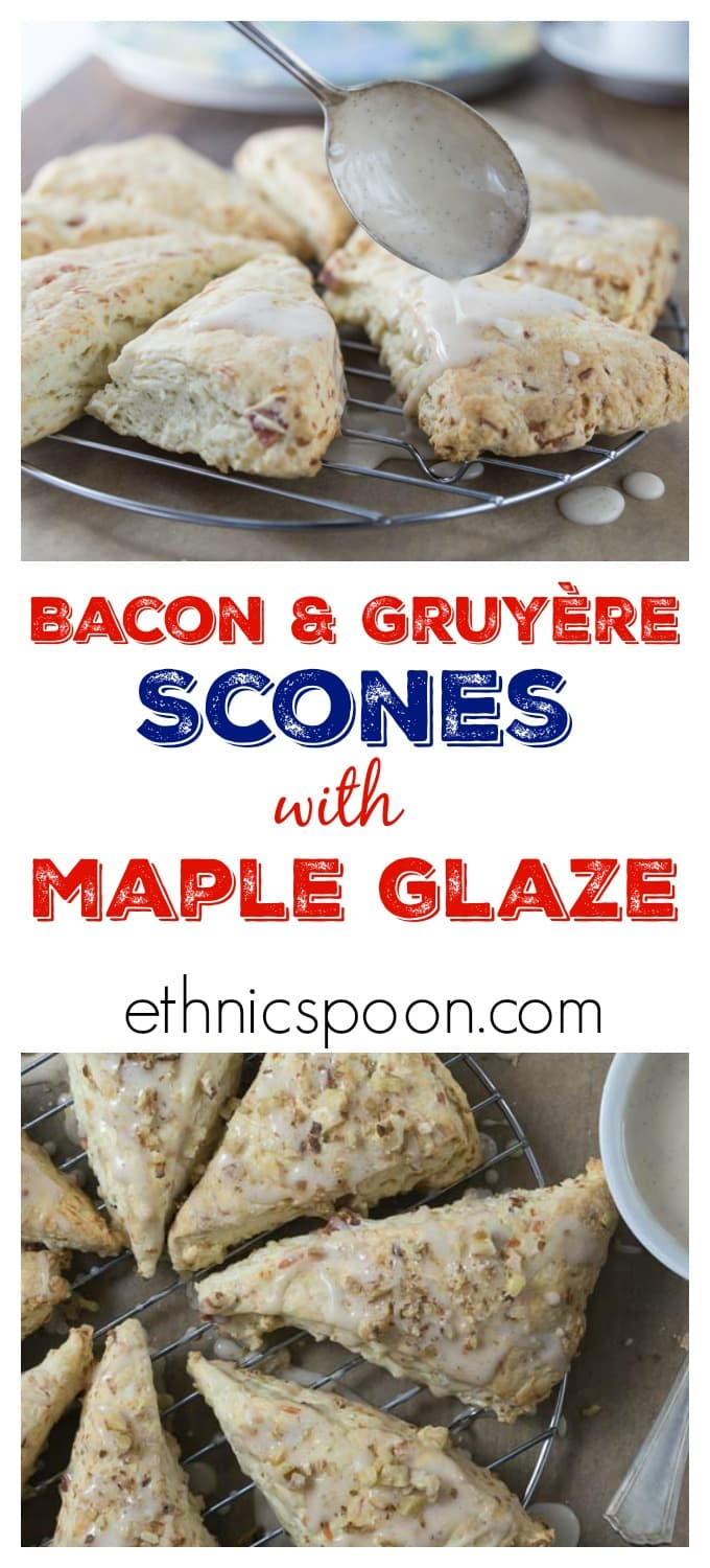 Like scones? You will love these! Everything's better with bacon but how about bacon scones with maple glaze? You are going to love these cheesy bacon scones. These have Gruyere, fresh thyme, bacon and the sweet maple glaze for a nice savory and sweet combination. | ethnicspoon.com #sponsored