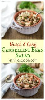 Cannellini bean, tomato, parsley, tarragon, white balsamic salad. Try this on a hot summer night! One of my best ever most requested dishes for a picnic! Quick and easy! Here is a must try summer bean salad when you want to eat something cool or take to a picnic. The flavors are fantastic with fresh parsley and tarragon for nice herbal note. | ethnicspoon.com