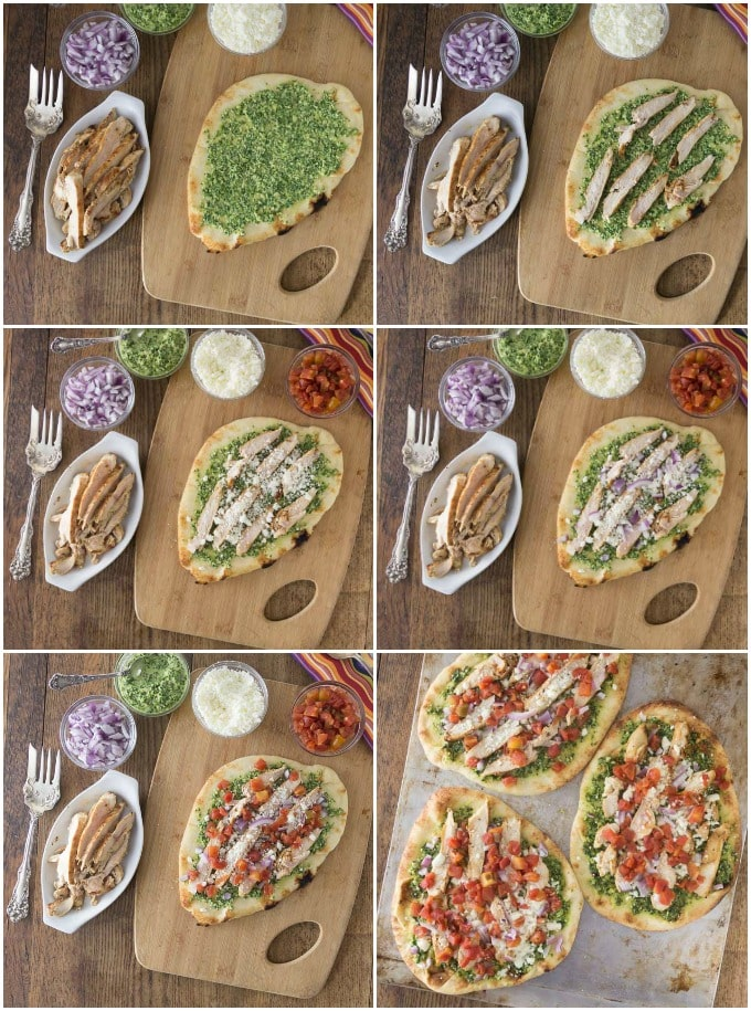 Here are the steps to create chicken flatbread pizza with cilantro almond pesto, queso freso and spicy RO*TEL tomatoes and chiles. So good! | ethnicspoon.com