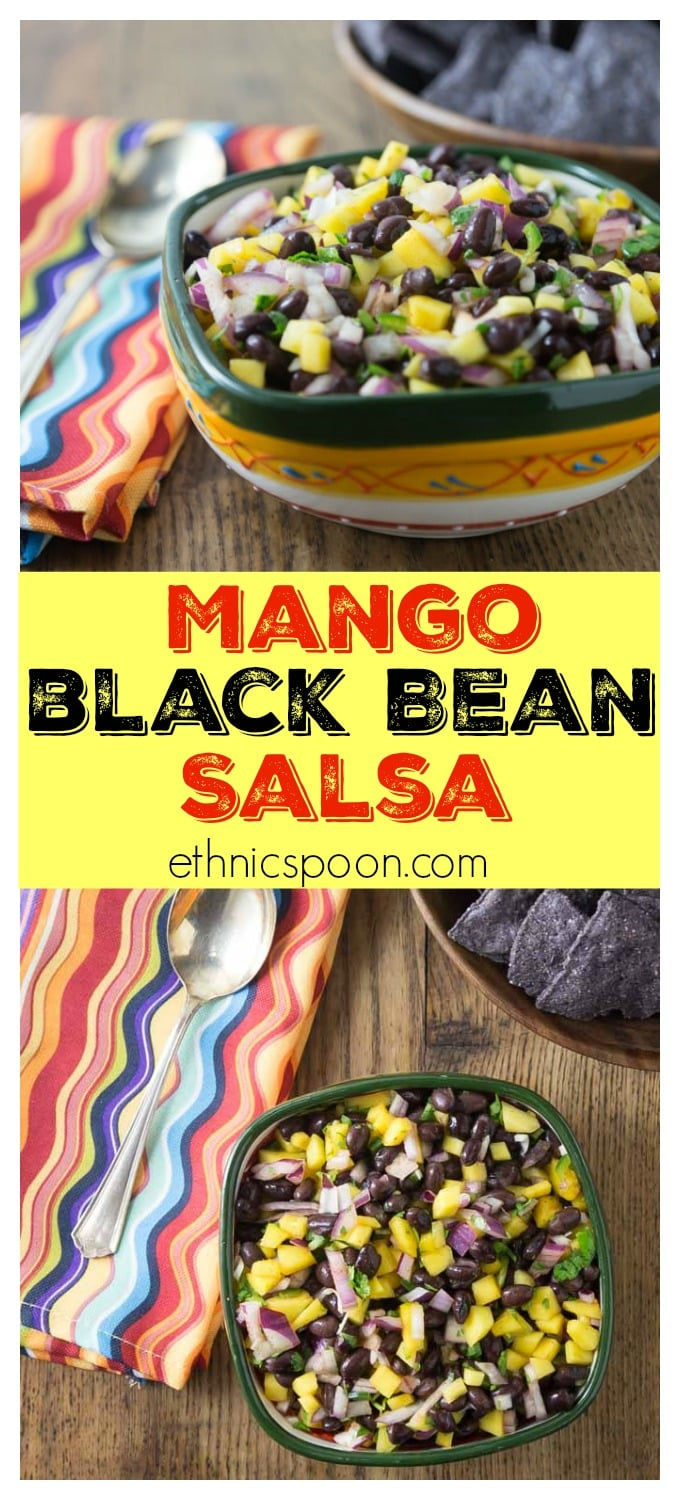 Try this super easy mango black bean salsa! This is my go-to dish to bring to summer picnics. If you can chop and stir this is the salsa for you! I love the sweet, savory and spicy flavors this dish brings. | ethnicspoon.com #mangosalsa #healthysalsa #carribbeanfood