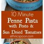 Tasty sun dried tomatoes in pesto sauce made with Barilla Ready Pasta. Here is a quick weeknight meal that is ready in 10 minutes or less. So good! | ethnicspoon.com #ad