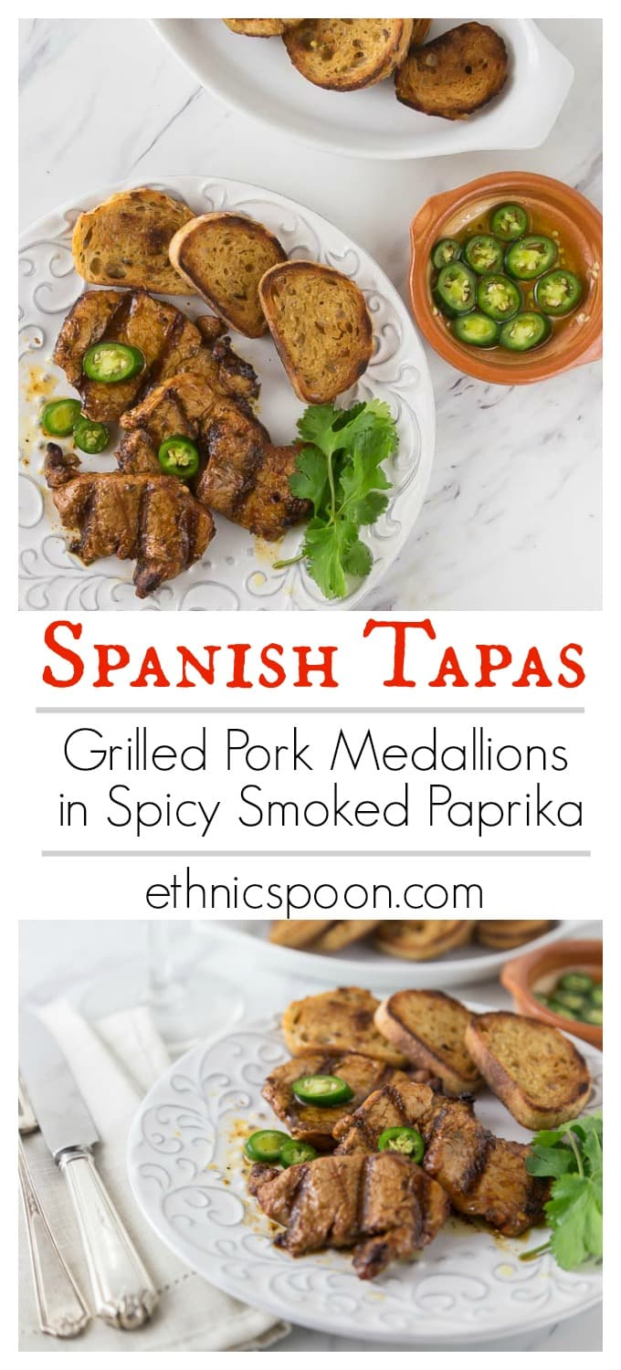 Melt in your mouth tender pork medallions! How about a classic Spanish tapas dish! Spicy marinated pork tenderloin medallions in paprika marinade and flash grilled al la plancha or al carbon. | ethnicspoon.com