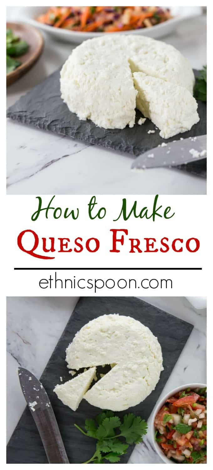 Cheesemaking at home is really quite simple. Make your own queso fresco at home with the easy to follow recipe. This is a great cheese to add to nachos, tacos, enchiladas or tostadas. Que rico! | ethnicspoon.com #homemadecheese #quesofresco #easycheese