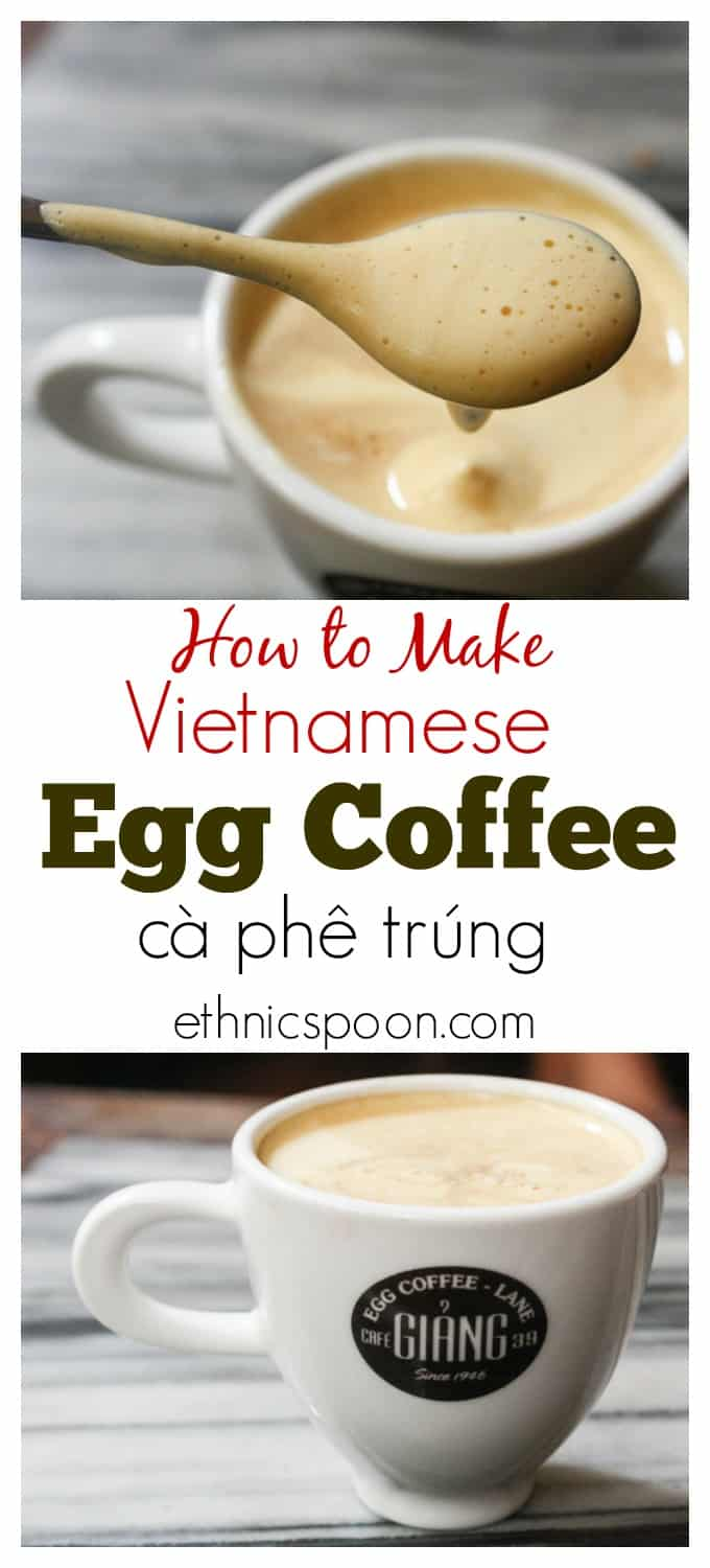 Coffee lovers you need to try this! I know it sounds strange but imagine your latte made with a strong espresso and 1 egg yolk beaten with sweetened condensed milk to a light fluffy crema like topping sitting on top. This is Vietnamese egg coffee or cà phê trúng and it is delicious! Delicious! | ethnicspoon.com