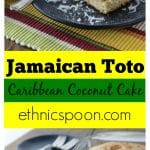 Simple ingredients come together to make a delicious cake. You are going to love making this easy kid friendly from scratch cake recipe that has tropical Caribbean. Jamaican Toto is a popular Caribbean coconut cake that is a simple and delicious spice cake that dates back to colonial times. The batter is super easy to make and produces a sweet cake that needs no frosting. | ethnicspoon.com