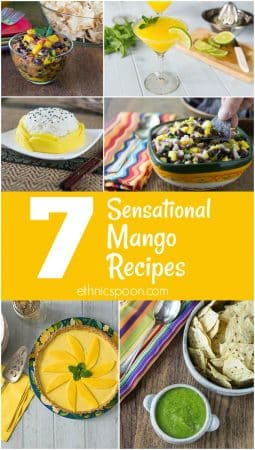 Here are 7 sensational mango recipes you will love. We have mango tomatillo salsa, mango habanero BBQ sauce, mango black bean salsa, frozen mango rum cocktail, Thai mango sticky rice, fresh mango tart and 2 minute spicy mango pico de gallo salsa. A little bit of every taste from sweet to savory. | ethnicspoon.com