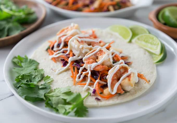 Spicy Shrimp Tacos with Jicama Slaw