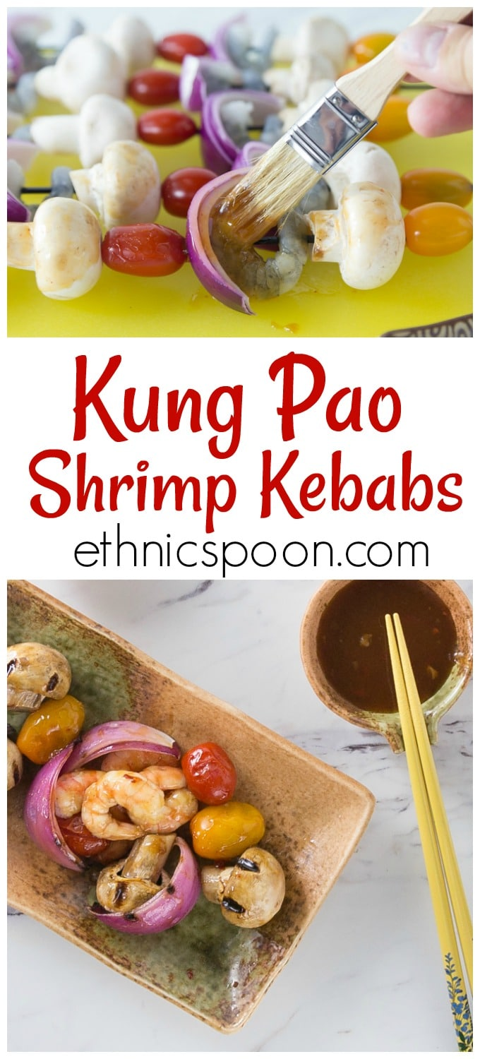 Dip your grilled shrimp in some spicy Kung Pao sauce! Here is a super easy recipe for some great Chinese food! Try this classic Sichuan Kung Pao sauce on some grilled kebabs. Sweet and spicy shrimp kebabs are a quick and easy weeknight meal. Slide your shrimp and veggies onto the skewers, brush with kung pao sauce and grill for about 10 minutes until the shrimp are done. | ethnicspoon.com #grilledshrimp #asiangrilled #asianinspired