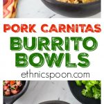 I love burritos! Some of the best Mexican food is so easy to make at home. Slow cooked authentic Mexican pork carnitas burrito bowls is what I am making today. The smell is filling my house and I am getting HUNGRY. Mexican pork carnitas are really the first cousin to pulled pork, a USA favorite. Slow cooker tender and delicious with a nice crispy finish! You will love these authentic Mexican pork carnitas burrito bowls ! Super easy to make in the slow cooker and then crisp up in the oven. Add some pico de gallo, some fried green plantain, avocado and some black beans. | ethnicspoon.com