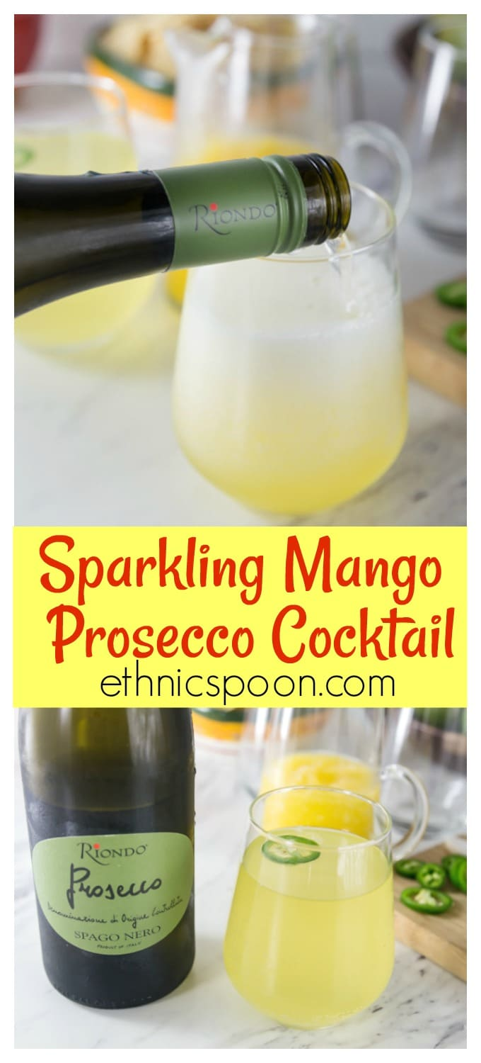 Cool and refreshing sparkling mango cocktail with Riondo Prosecco and a slice of jalapeno for a nice spice note! #prosecco #cocktail #sparkingcocktail #ad| ethnicspoon.com