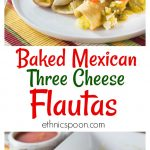 How about a spicy Mexican dish with salsa verde? Today's recipe is three cheese Mexican flautas with some spicy salsa verde. I like to drop my Mexican three cheese flautas in a hot pan with a little oil to give them a nice color and then I bake them with salsa verde and some queso fresco on top. I like to add more salsa verde and a little picante when I serve them. I love Mexican food! This recipe is so easy to make too! #mexicanfood #flautas #salsa #salsaverde #MakeGameTimeSaucy #ad Mexican, flautas, cheese, salsa, salsa verde, spicy, queso, vegetarian,