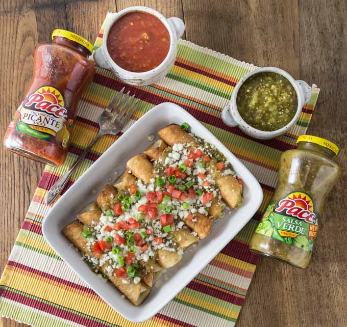 Try these Mexican three cheese flautas with a creamy and rich filling topped with a tangy salsa verde and you can kick it up with some picante too! I love Mexican food! This recipe is so easy to make too! | ethnicspoon.com