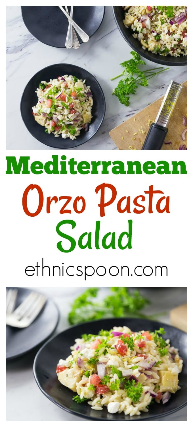 Love pasta salads? You will love this super easy salad recipe. Take this fresh and delicious Mediterranean orzo pasta salad to your next family gathering. This is a great salad to take along to events or serve at a dinner party. This is easy and delicious salad recipe with tomatoes, feta cheese, Kalamata olives, and artichoke hearts among other things. | ethnicspoon.com