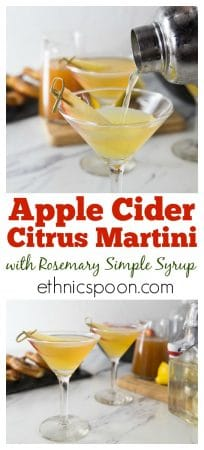 How about the taste of fall in a cocktail? Try this citrus apple cider martini with rosemary infused simple syrup. You will love the sweet, tart and herbal tones in this drink. You can make up a batch of the rosemary simple syrup and keep it on hand for other cocktails. Try it in salad homemade dressing for a little sweetness and rosemary flavor. Shake up this cocktail at your next happy hour! #cocktail #martini #cider #rosemary #drinks #happyhour #fallcocktail #vodka | ethnicspoon.com