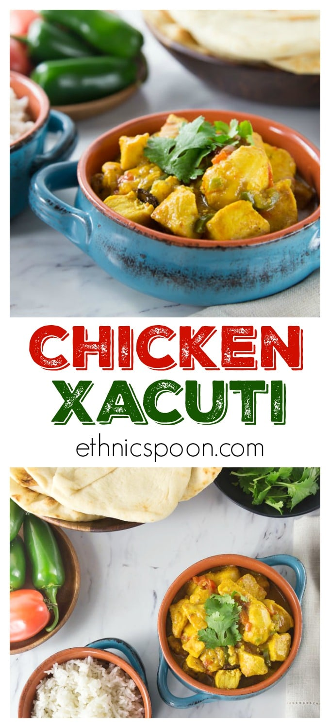 You will love this spicy and sweet chicken xacuti Indian dish. The exotic flavors come alive when blended with coconut milk. This dish is easy to make and includes turmeric, star anise, ginger, cardamom, chili powder, coriander, tamarind juice and fenugreek. This makes a really tender and delicious stewed chicken dish with a creamy and spicy sauce. This is great when served with basmati rice or naan bread. #indianfood #xacuti #chickenrecipe #spicyfood #easyrecipe #curry #coconutmilk | ethnicspoon.com