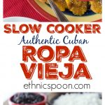Do you love Cuban food? Here is one of my all-time favorite Cuban dishes and you can make this in the slow cooker. You will love this tender, juicy Cuban ropa vieja beef roast. You have to serve this with a side of black beans and fried plantain too! This is a very easy dish to make and has some great flavors plus it freezes well so make a big batch! #cubafood #latinfood #slowcooker #ropavieja #comfortfood #stew #hispanicfood #spicyfood #beefdish #recipe | ethnicspoon.com