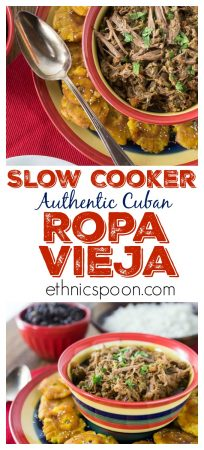 Do you love Cuban food? Here is one of my all-time favorite Cuban dishes and you can make this in the slow cooker. You will love this tender, juicy Cuban ropa vieja beef roast. You have to serve this with a side of black beans and fried plantain too! This is a very easy dish to make and has some great flavors plus it freezes well so make a big batch! #cubafood #latinfood #slowcooker #ropavieja #comfortfood #stew #hispanicfood #spicyfood #beefdish #recipe   ethnicspoon.com
