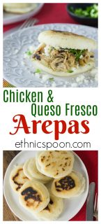 Hola everyone! You'll love these nice warm arepas with a crunchy exterior and soft creamy middle. Arepas are a popular dish in Colombia and Venezuela. These are also gluten free made with corn flour or masarepa. I like to fill mine with some spicy shredded chicken and queso fresco. Here is an easy recipe to make arepas at home and the dough comes together quickly and you can brown them on a cast iron skillet or griddle. #arepas #recipe #latinfood #hispanic #masa #glutenfree #gf #desayuno #venezuela #columbia #cachapas #queso | ethnicspoon.com