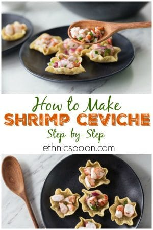 Shrimp ceviche with wooden spoon and chips.