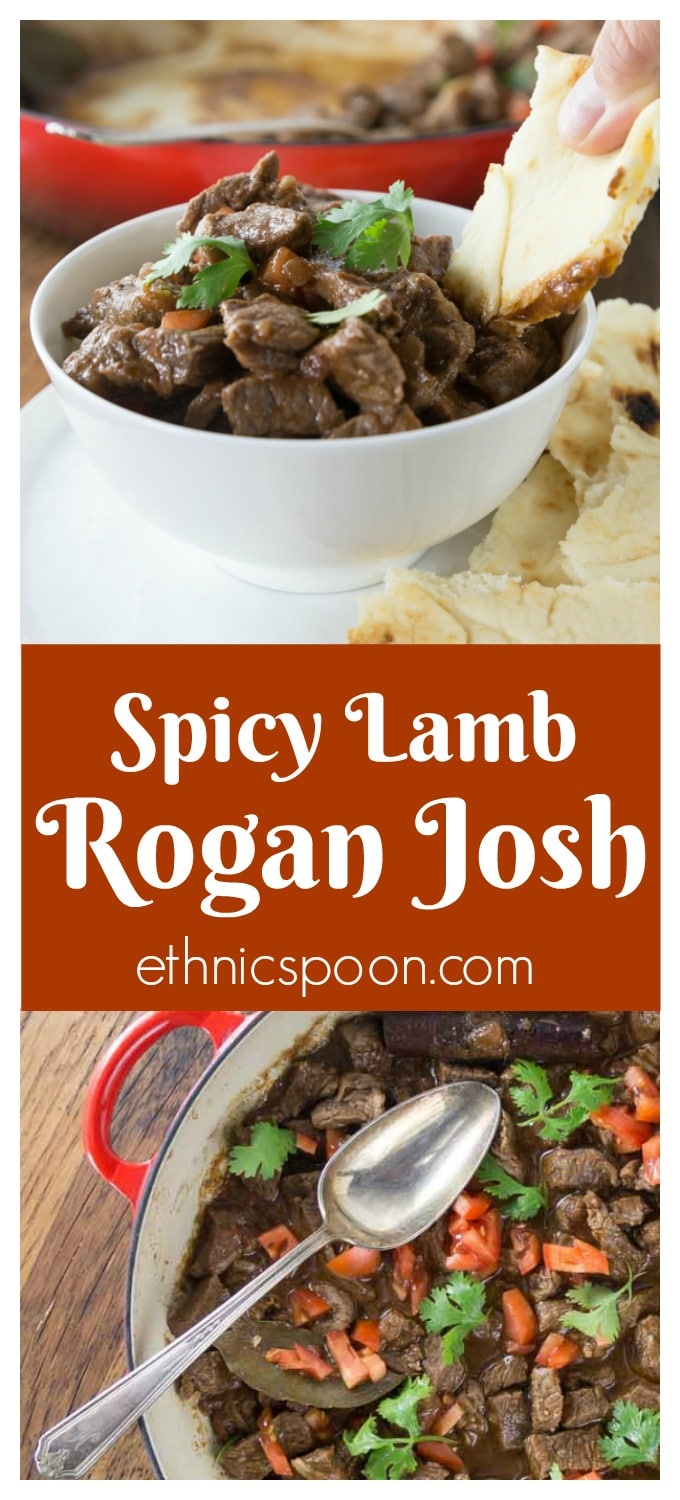 Try this fantastic dish from Kashmir that has its origins from Persia. Spicy and rich rogan josh is an easy Indian dish to prepare in your dutch oven or slow cooker. The mixture of spices is what gives this amazing spicy lamb stew its deep, rich, and aromatic taste. I used my homemade garam masala as well as other spices. You will want to have lots of naan bread for dipping into this tasty sauce. If you like curry dishes you will love this dish. #lamb #roganjosh #curry #indianfood  | ethnicspoon.com