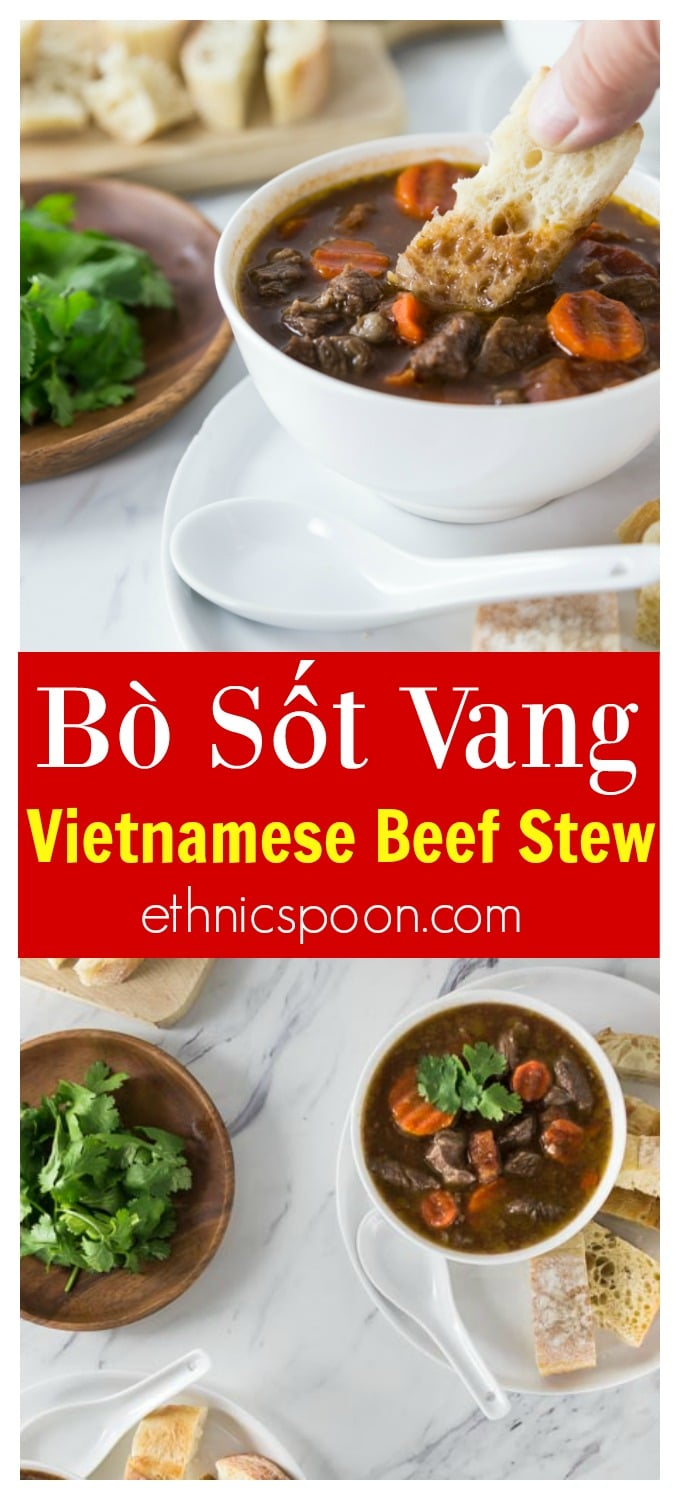 Bo sot vang or bò sốt vang is stew of tender, delicious and succulent small medallions of beef in rich aromatic broth with carrots and tomato. You will love the recipe for its very unique flavors as it is not your typical beef stew. Enjoy this with a nice crusty baguette or bánh mì. You will want to soak up every drop! #vietnamesefood #vietnamese #beefstew #bosotvang #stew | ethnicspoon.com #NinjaDeliciousDoneEasy #NinjaPartner #ad