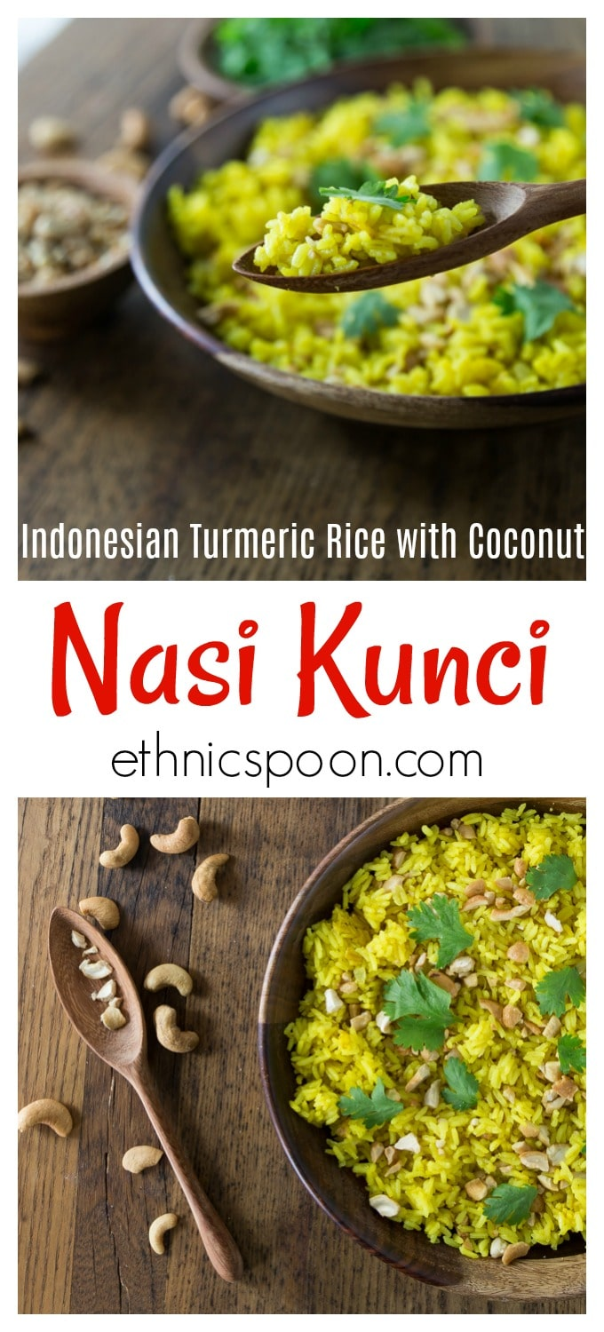 Your rice does not have to be boring! How about an exotic rice dish from Indonesia. Indonesian turmeric rice (nasi kunci) with coconut milk and cashews has such delicate flavors you will be amazed how delicious this humble dish is. You can also garnish with cilantro, coconut flakes, and crispy fried onions. #indonesianfood #nasikunci #turmeric #healthyrecipe # turmericrice #ad | ethnicspoon.com