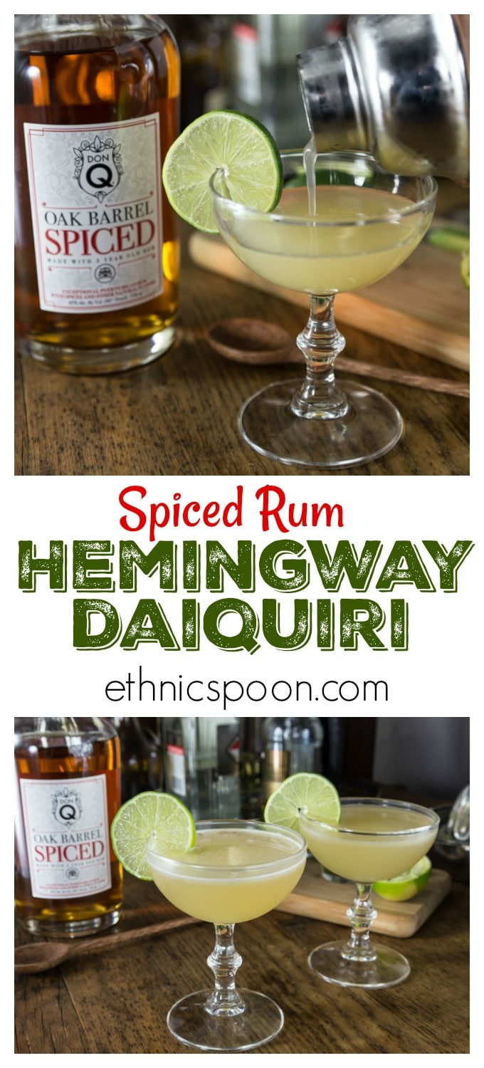 When it comes to cocktails don't skimp on the ingredients. Always use fresh fruit juices and fine spirits! You will love the subtle flavors in this classic Hemingway Daiquiri with Don Q Spiced Rum. This is crisp and refreshing so shake one up and enjoy! | ethnicspoon.com #hemingwaydaquiri #hemingwaydrink #donqrum #ad