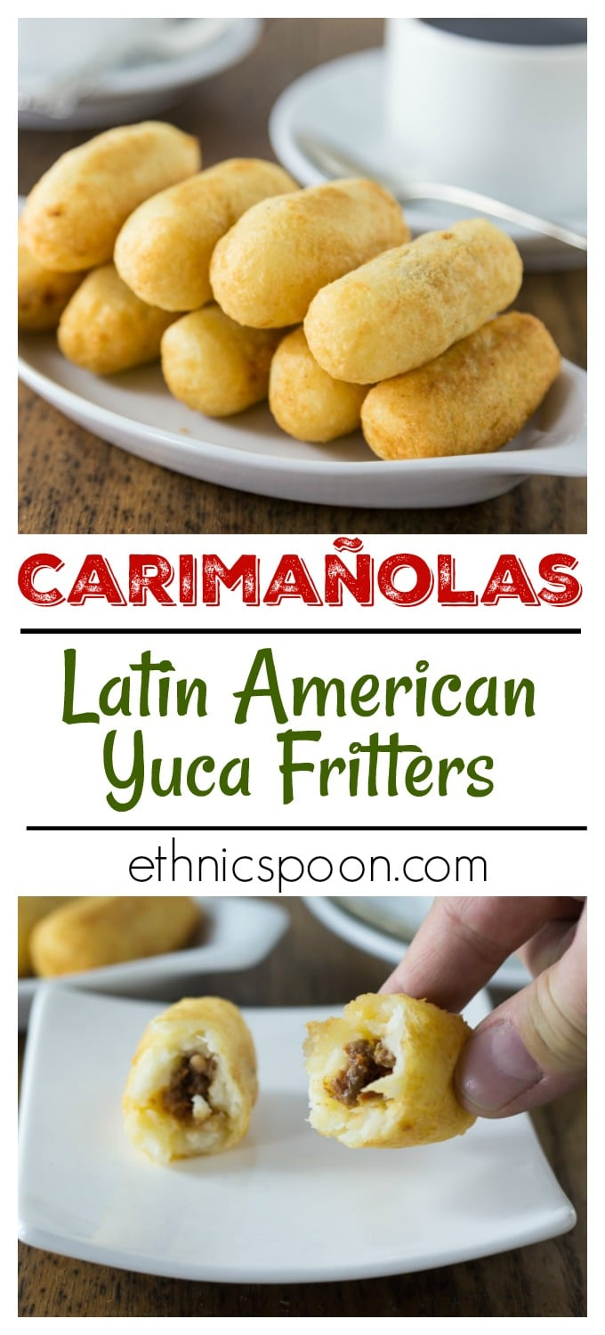 You will live this crunchy and creamy Latin treat! Carimañolas are a yuca dough filled with a tasty spiced meat mixture that is fried into a fritter. These are very popular in Panamá and Colombia. These are very similar to alcapurrias and papas rellenas. #yuca #latinfood #carimañolas #fritter #tapas | ethnicspoon.com