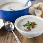 Irish potato soup is a really easy soup to make and has a delicate buttery rich flavor for a cold day. Simple ingredients of salt, pepper, butter and onions come together wil some vegetable stock for a fantastic soup. | ethnicspoon.com