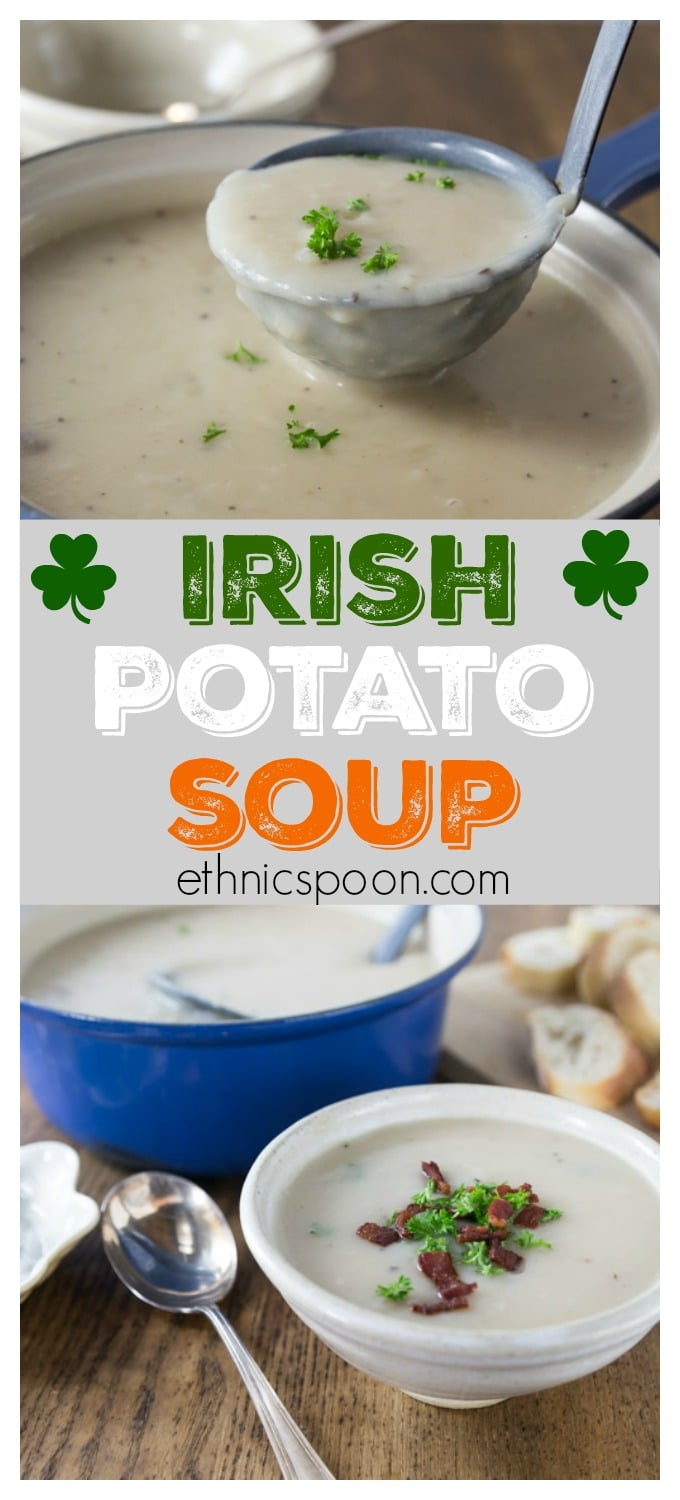 If you can imagine a nice buttery baked potato in the form of a soup you would have Irish potato soup. Simple ingredients of salt, pepper, butter and onions come together will some vegetable stock for a fantastic soup. #irishpotatosoup  #irishrecipe #stpatricksday | ethnicspoon.com