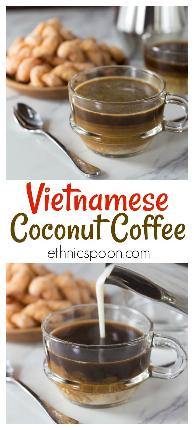 Vietnamese coffee culture is a growing sensation! Vietnamese coconut coffee is a super simple coffee drink to make at home and it is the authentic version made in Hanoi at popular coffee shops. Drizzle in a combination of sweetened condensed milk and coconut cream on top of a strong brewed coffee. | ethnicspoon.com