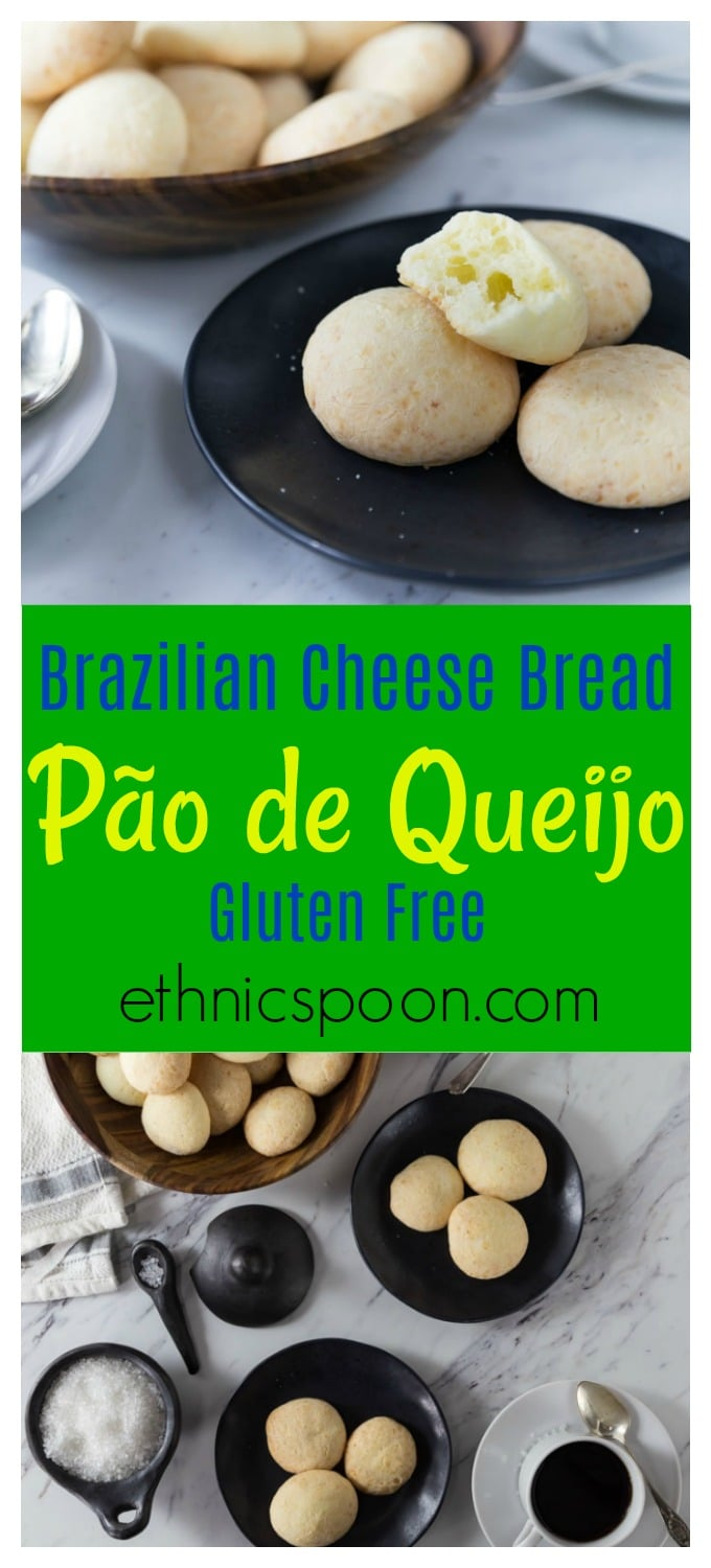 There is nothing like fresh baked bread and fresh bread with cheese is even better! Try these popular gluten free mini cheese bread bites made with tapioca flour! Brazilian cheese bread or pão de queijo is a tasty bite of comfort food. You will want to these warm out of the oven but you can reheat them too. They have a nice crunchy exterior and soft cheesy middle. #baking #bread #cheesebread #glutenfree #gf #paodequeijo #brazilianfood #appetizers | ethnicspoon.com
