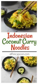 Get your noodle on! Rice noodles with a spicy kick! Indonesian curry brings a a spicy flavor to the table with a rich sauce. The sweet flavor of coconut with spicy curry and tamarind has a nice contrast of flavors. #ricenoodle #curry #indonesianfood #shrimp #spicyfood #noodles | ethnicspoon.com