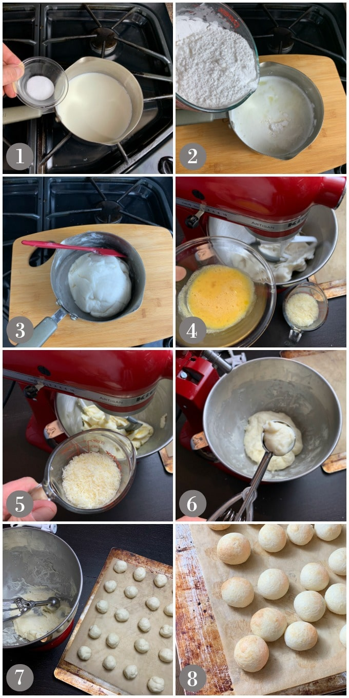 A collage of photos showing steps to make pão de queijo on a stove and then a mixer.