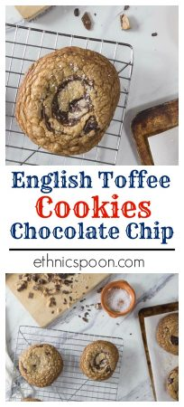 This is one cookie recipe you have to try and you will need to make them again and again! You might like chocolate chip cookies but this English toffee, brown butter chocolate chunk cookie with sea salt is nothing short of amazing! Trust me this needs to be on your bucket list of things to bake. #cookies #chocolatechip #chocolatechipcookies #baking #seasalt #toffee #brownbutter #chocolate | ethnicspoon.com