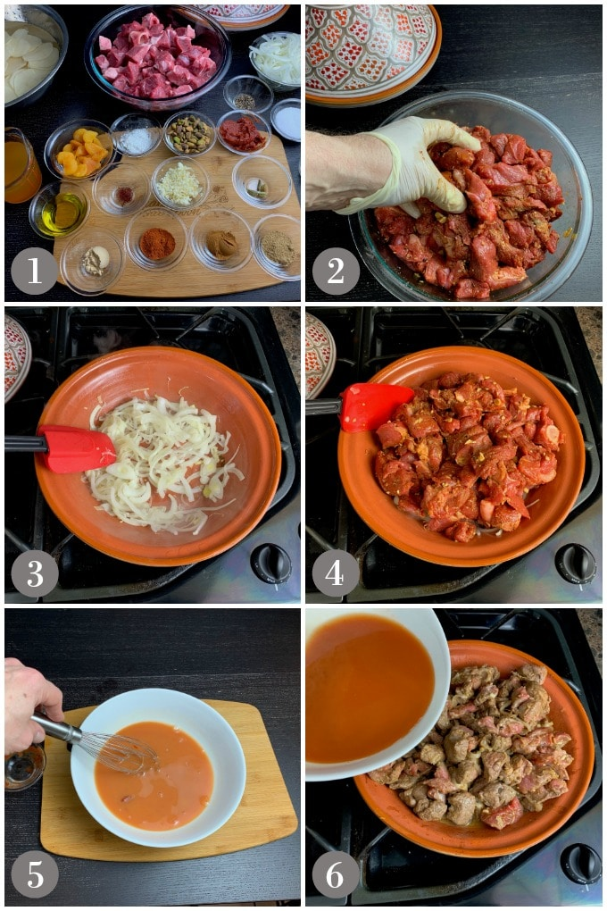 A collage of photos showing the ingredients to make lamb tagine in a clay tagine.