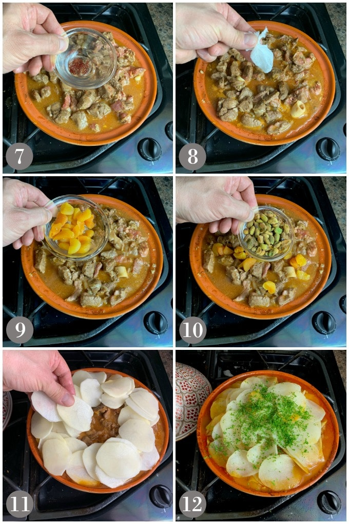 A collage of photos showing the final steps to prepare and simmer a lamb tagine with apricots, pistachios and potato slices.