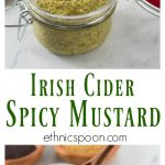 Buy some mustard seeds and soak them to make your own homemade mustard. Homemade mustard is so easy and you can explore new flavors too! Try this Irish cider tarragon mustard on some sausages or roast beef! This spicy whole grain pungent mustard is not for the faint of heart. You will enjoy the kick this brings but also has some subtle flavors too! #mustard #wholegrainmustard #homemade #mustardrecipe #spicymustard #makemustard #brownmustard #yellowmustard | ethnicspoon.com