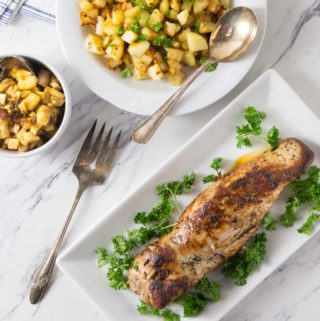 Marinated pork loin served with a spicy apple, bacon and maple syrup chutney. The flavor combination is one you will love. This chutney brings spicy, salty and sweet flavors served over tender slices of pork loin. | ethnicspoon.com