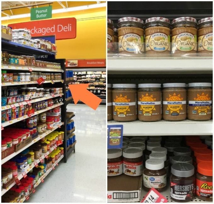 pictures of a grocery store shelf with almond butter