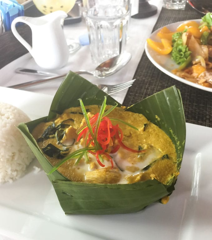 Cambodian Chicken Amok served in a banana leaf at the Yellow Mango restaurant in Siem Reap.
