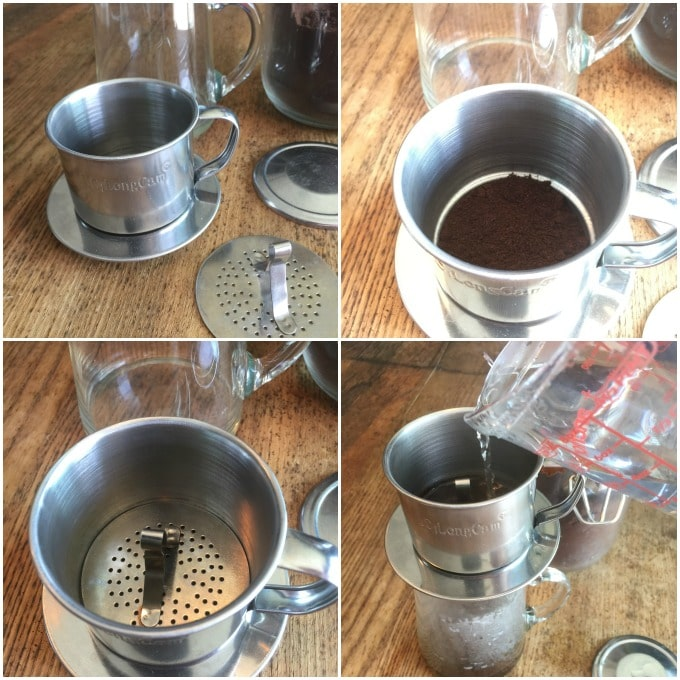 Here are the steps to make Vietnamese coffee in a phin. Add the coffee to the phin, drop in the press and pour boiling water and the coffee drips into a container underneath. | ethnicspoon.com