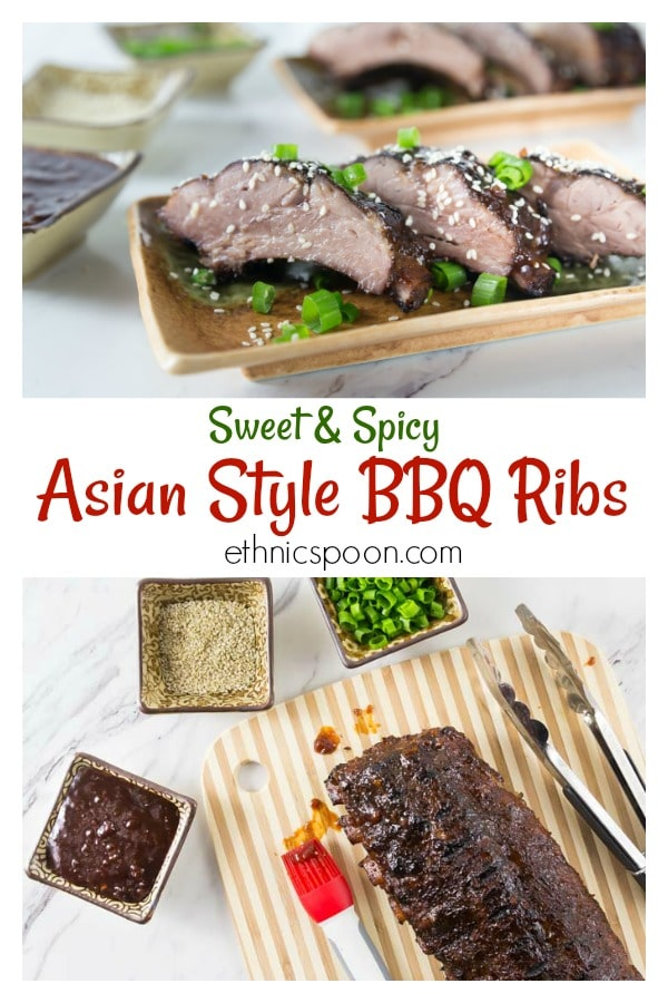 Time to fire up the grill and break out some ribs! I have recipes for my custom Asian flavored dry rub and homemade sweet, spicy and sticky BBQ sauce. It doesn't get any better and simple to make too! Brush some on your rack of ribs while grilling and dip then when they're done! | ethnicspoon.com #asianribs #sweetandspicyribs #asianbbq