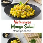 Vietnamese mango salad: A simple salad consisting of diced mango, rice vinegar, shallots, cilantro, fish sauce, peanuts, lime juice and palm sugar. The flavors in this salad have a balance of sweet, tart, bitter and salty. The chopped peanuts give it a nice crunch! #vietnamese #mangosalad #healthyrecipe #salad #fruitsalad #asiansalad | ethnicspoon.com