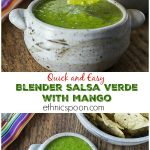 A quick and easy blender salsa verde that rocks! My family loves Mango tomatillo salsa! Kick up your salsa with some heat and sweet! #salsa #mangotomatillo | ethnicspoon.com