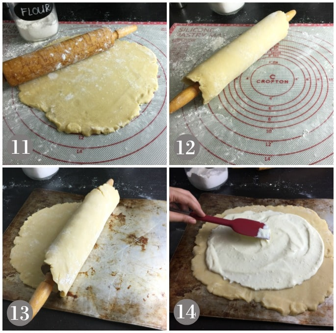 A collage of dough being rolled out and transferred to baking sheet and then cheese filling spread on top.