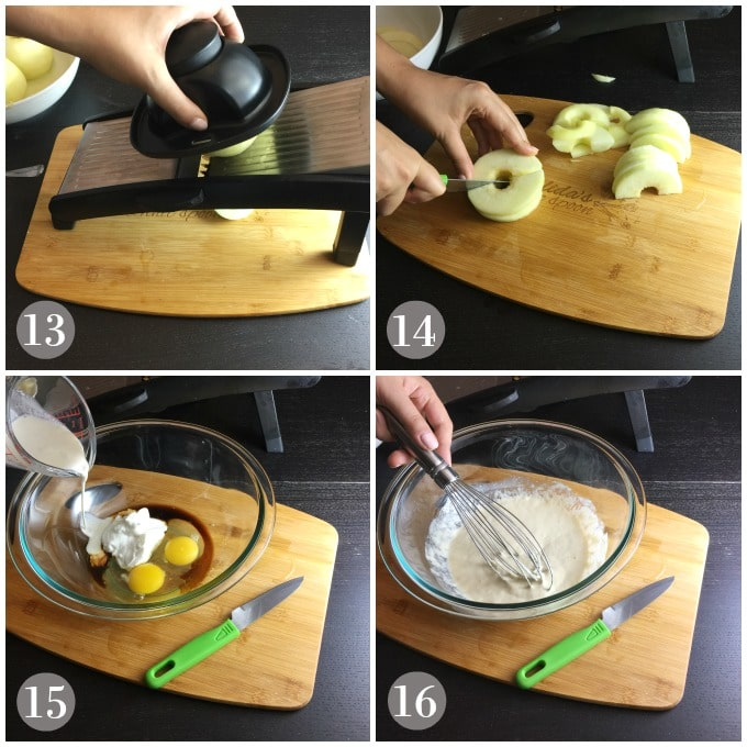 Collage of photos while sliced apples and custard being whisked.