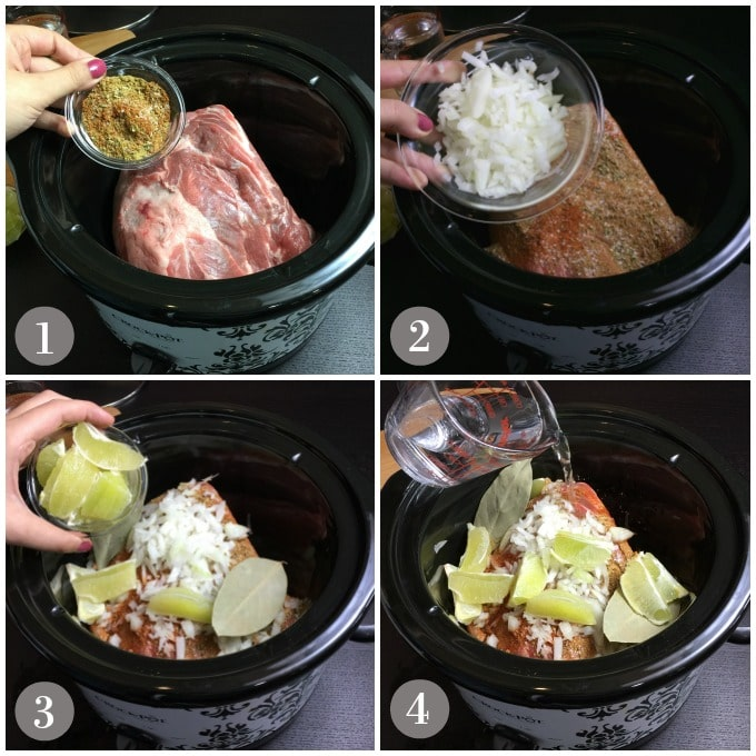Collage of pork shoulder in slow cooker with onions, spices, limes, bay leaf and water to mark Mexican pork carnitas.