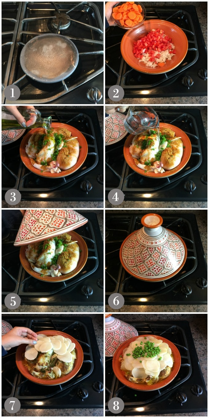 Collage of photos showing preparation of Moroccan chicken on a stove with ceramic tagine.